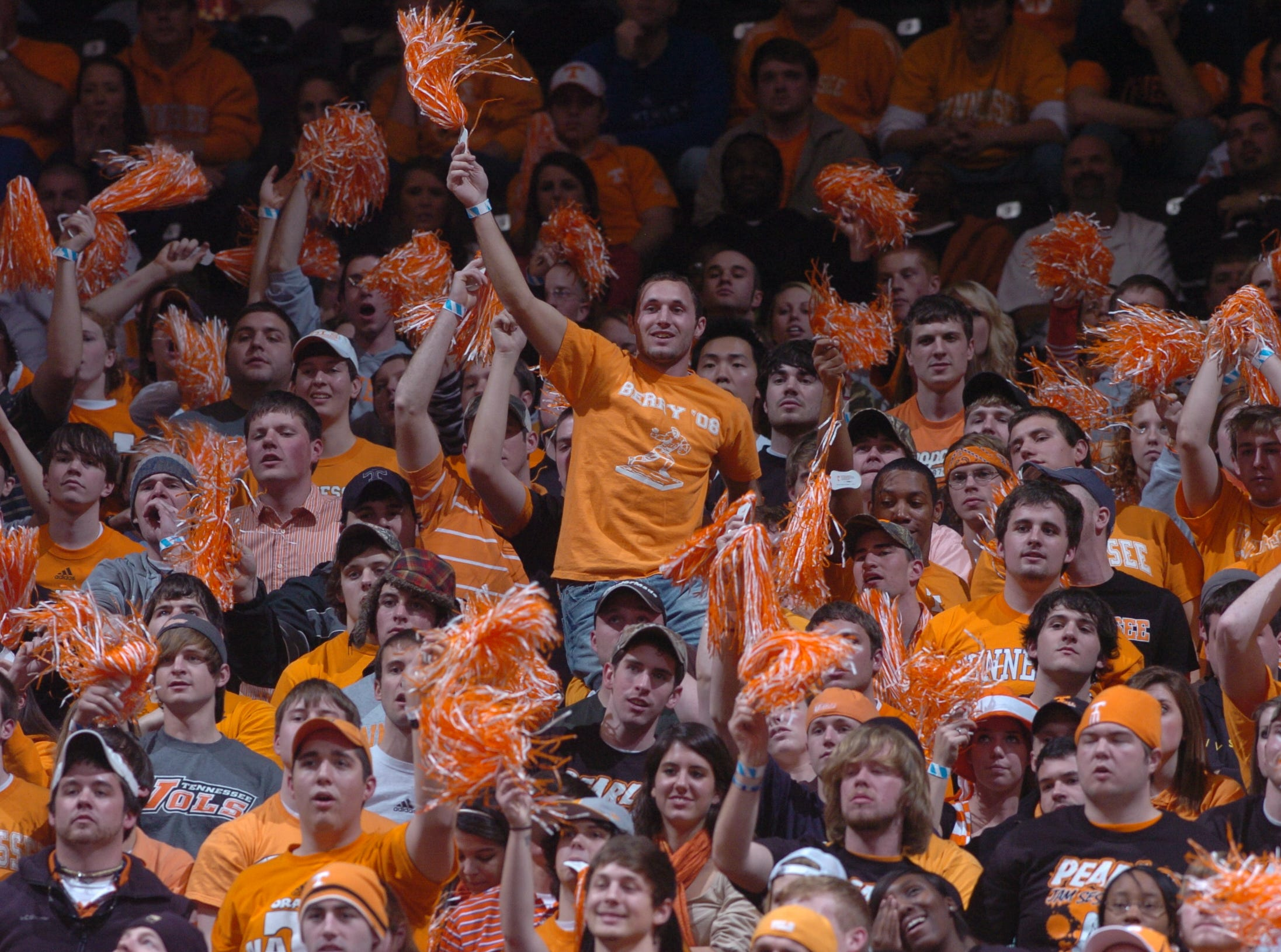 Tennessee fans cheer during a game against Kentucky at Thompson Boling Arena.