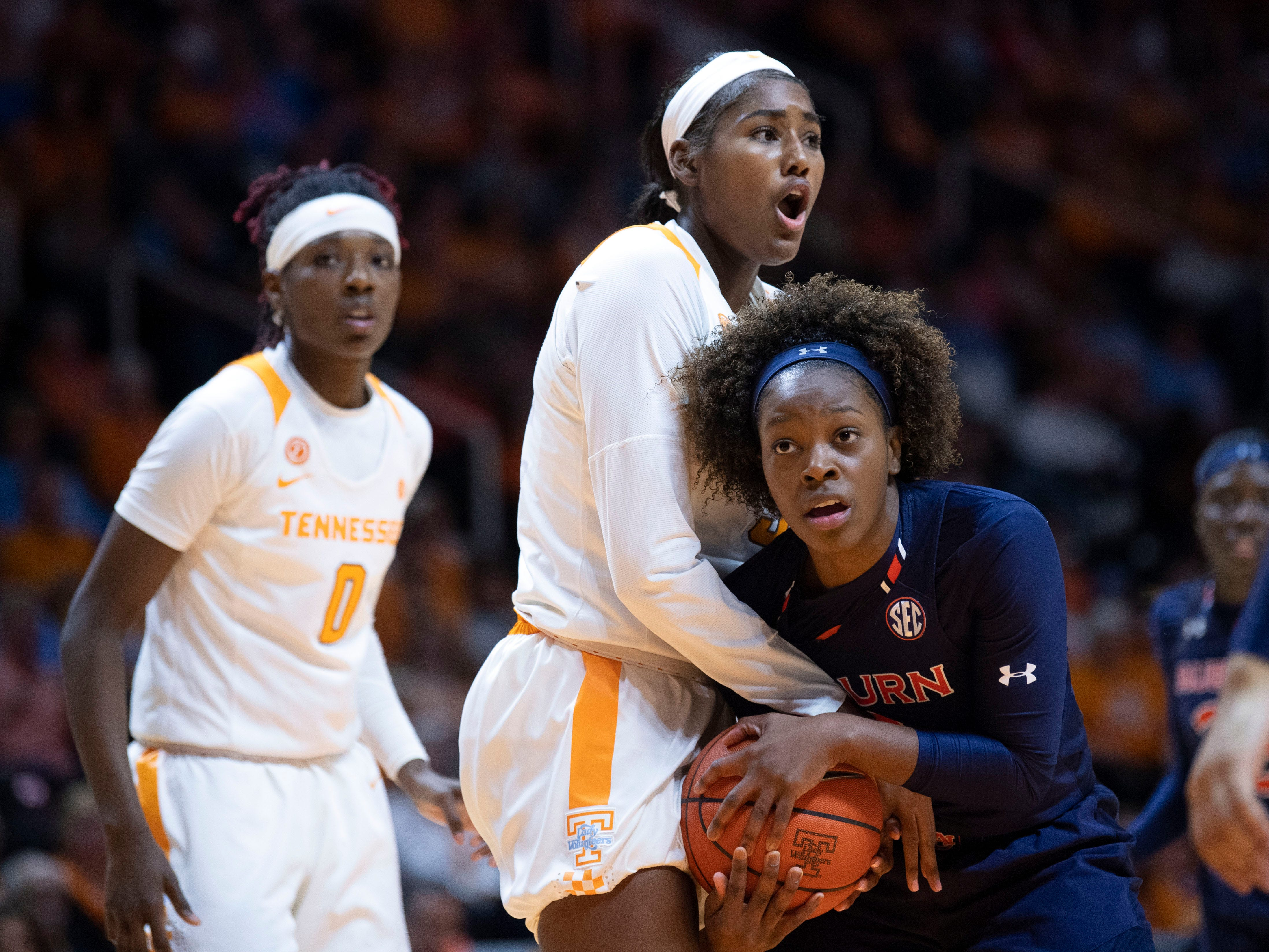 Tennessee's Kamera Harris (5) reacts as Auburn's Erica Sanders (3) is given possession of the ball on Thursday, February 14, 2019.