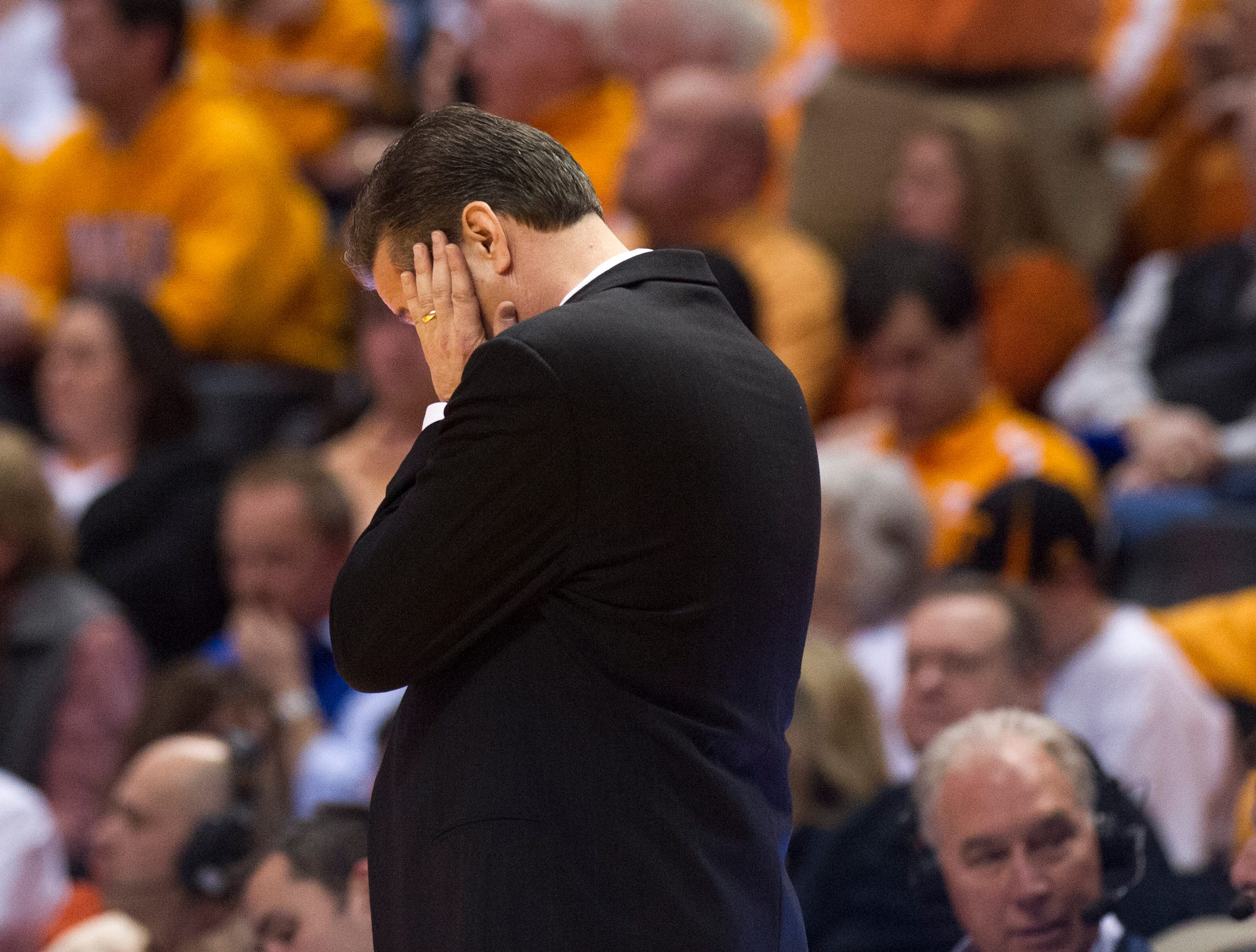 Kentucky head coach John Calipari reacts after a foul was called on his team during the first half against Tennessee at Thompson-Boling Arena Saturday, Feb. 16, 2013.