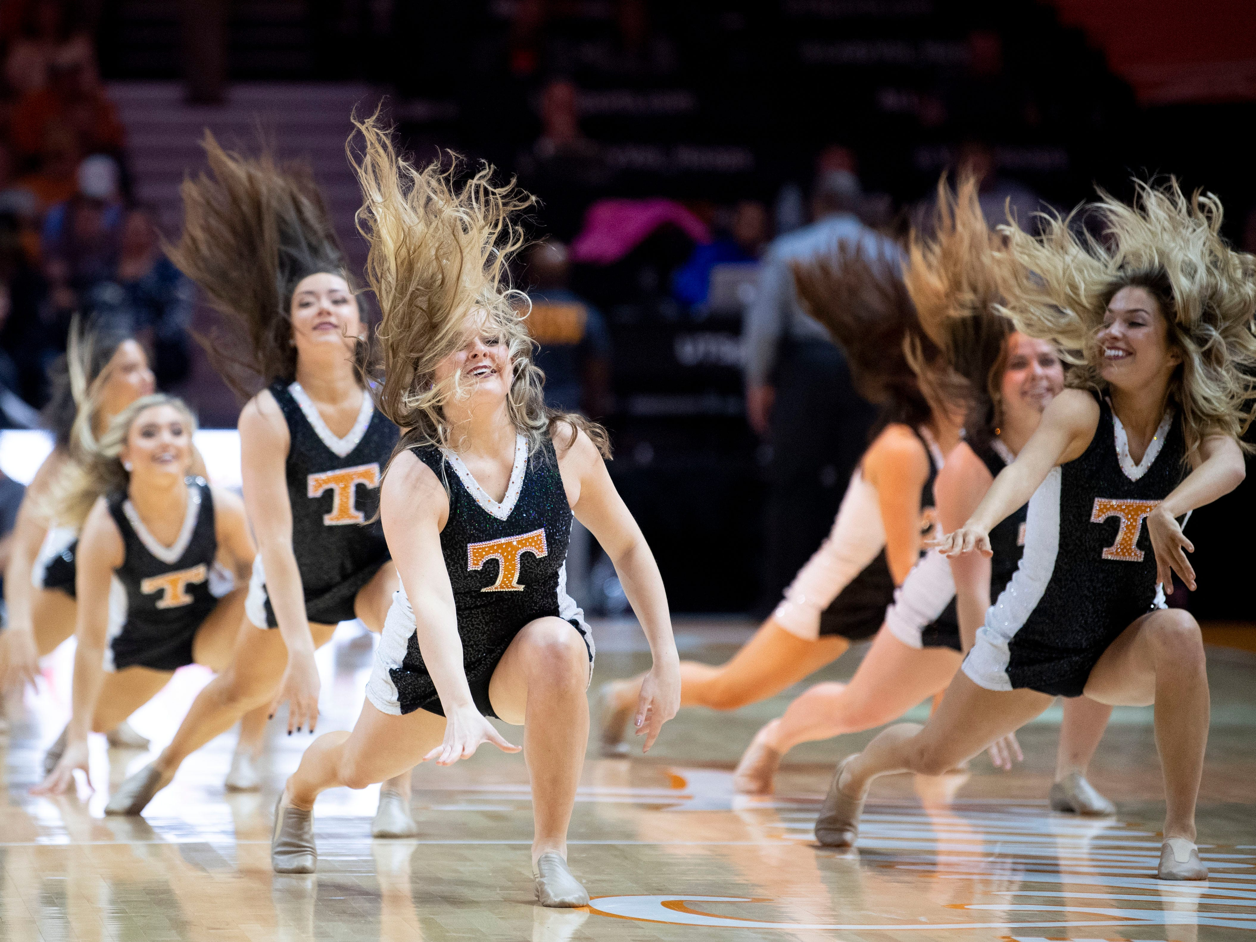 The Tennessee dance team performs between quarters at the Lady Vols and Auburn game on Thursday, February 14, 2019.