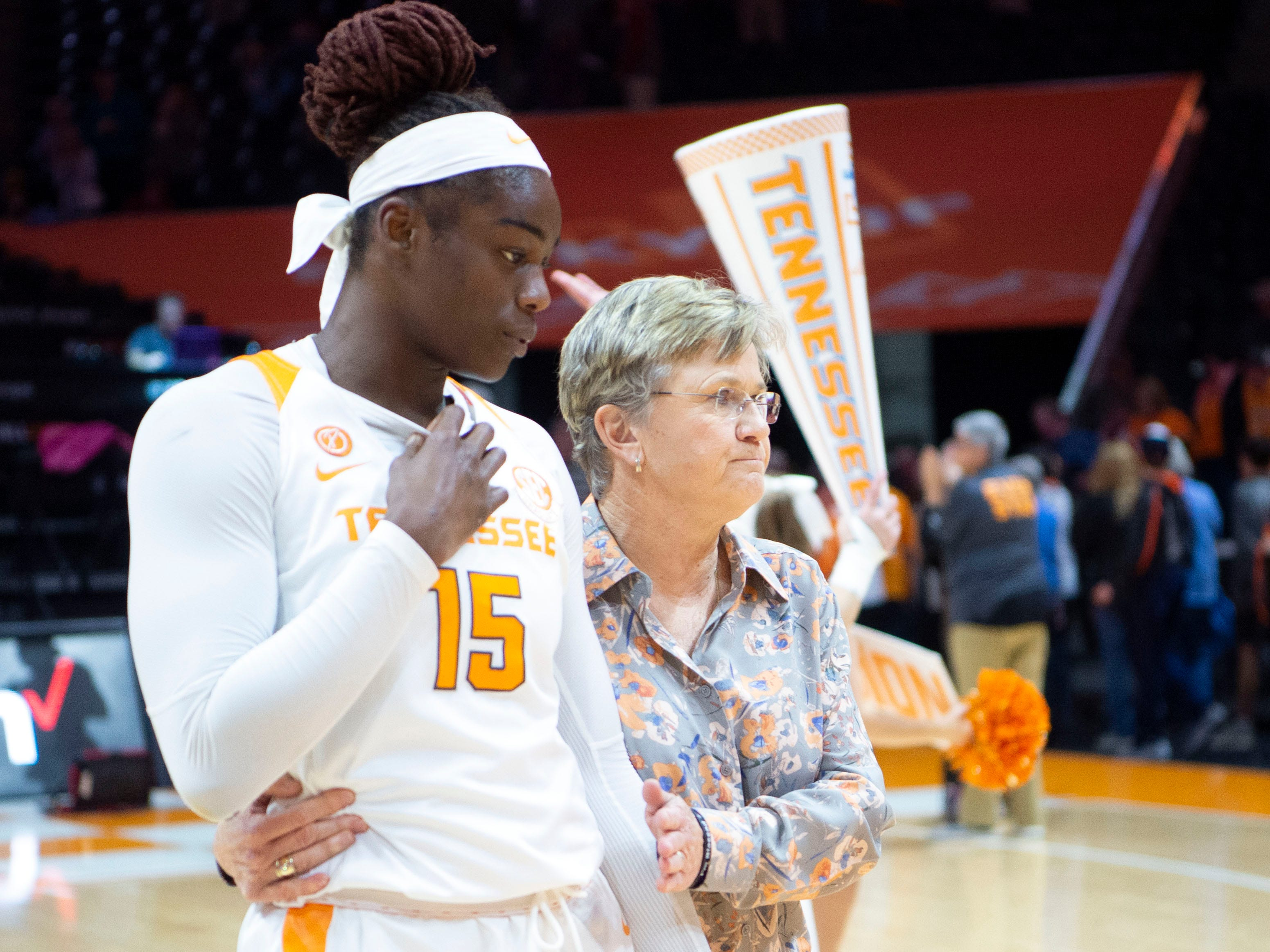 Tennessee basketball coach Holly Warlick walks with Cheridene Green (15) after their win over Auburn on Thursday, February 14, 2019.