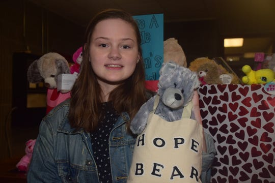 Tori Rasmussen donated four Hope Bears with voice recorders for a toy drive to benefit sick kids at East Tennessee Children's Hospital at Byington Solway.