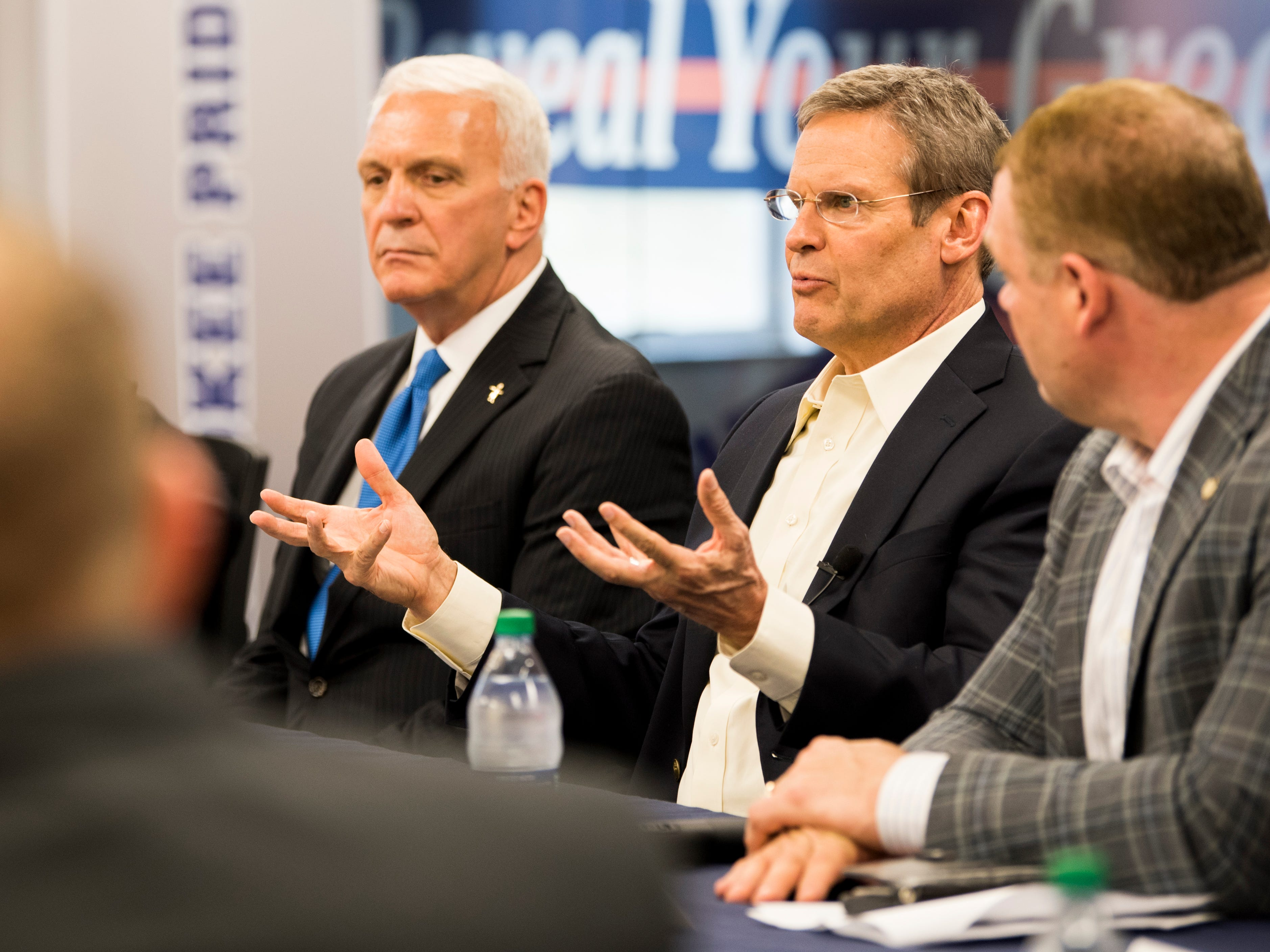 Tennessee Gov. Bill Lee, center, answers a question during a roundtable event at South-Doyle High in South Knoxville on Friday, February 15, 2019.