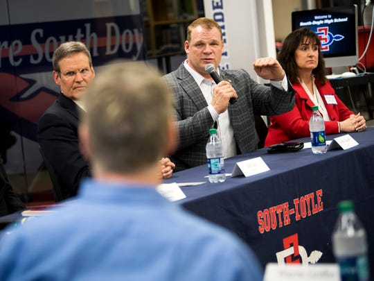 Knox County Mayor Glenn Jacobs asks a question during a roundtable event at South-Doyle High in South Knoxville on Friday, February 15, 2019.