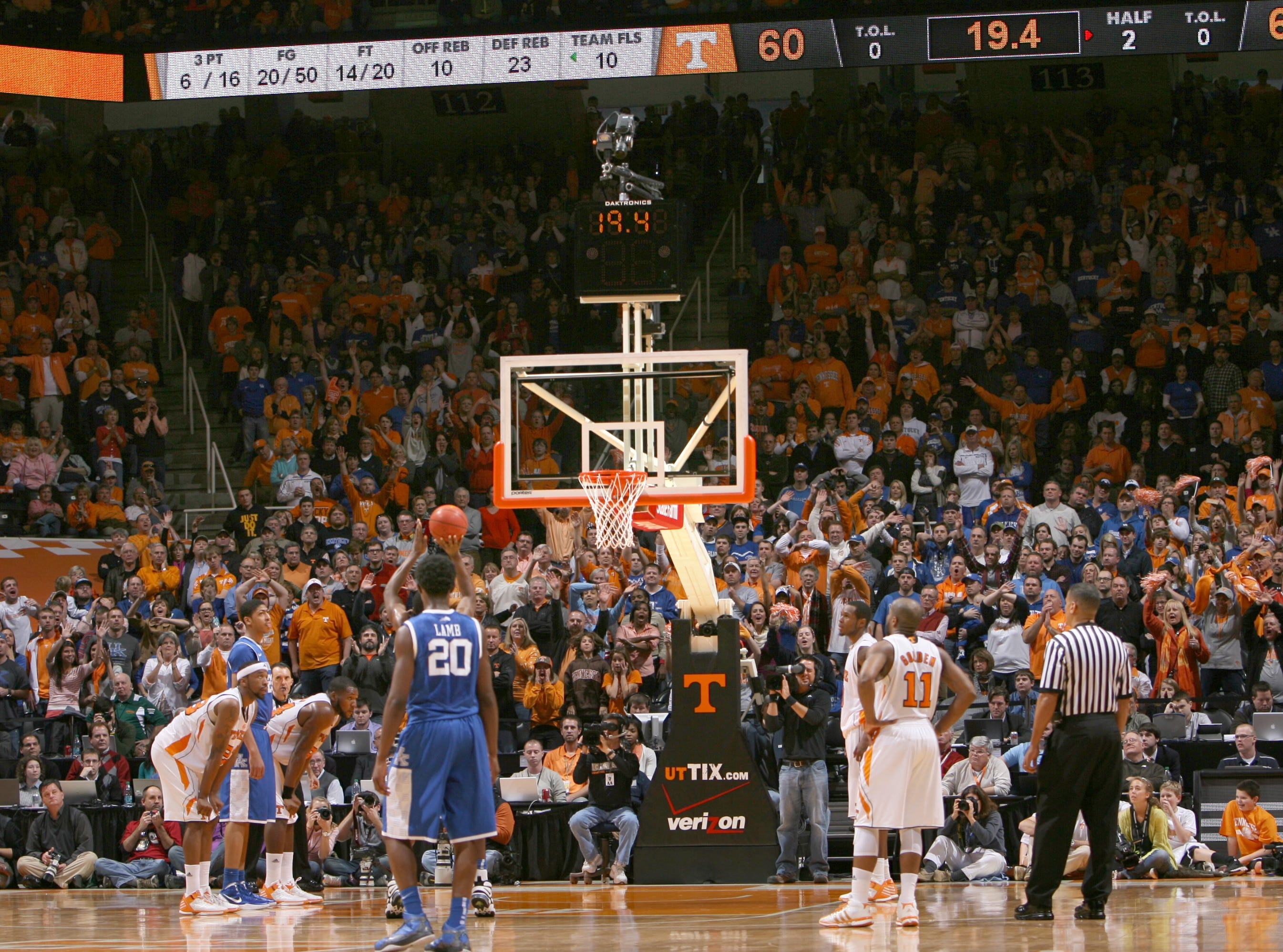 Tennessee takes on Kentucky at Thompson-Boling Arena Saturday, Jan. 14, 2012.  Attendance at Tennessee men's basketball games ranks in the top five in the nation.
