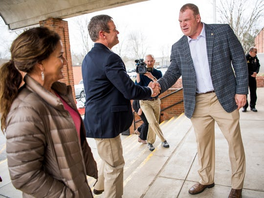 Knox County Mayor Glenn Jacobs, right, greets Tennessee Gov. Bill Lee, center, and his wife Maria Lee, left, at South-Doyle High in South Knoxville on Friday, February 15, 2019.