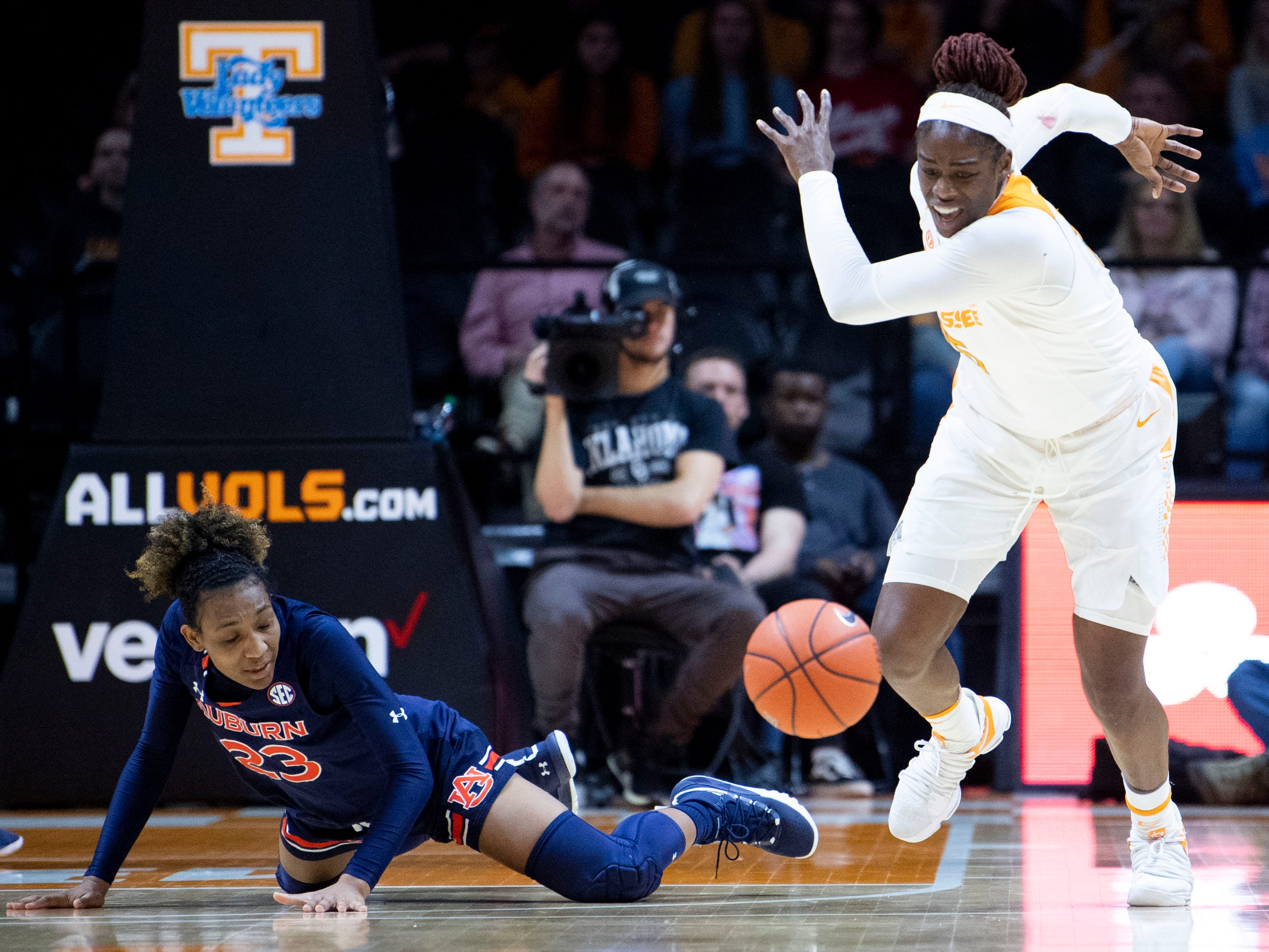 Tennessee's Cheridene Green (15) steals the ball from Auburn's Crystal Primm (23) on Thursday, February 14, 2019.