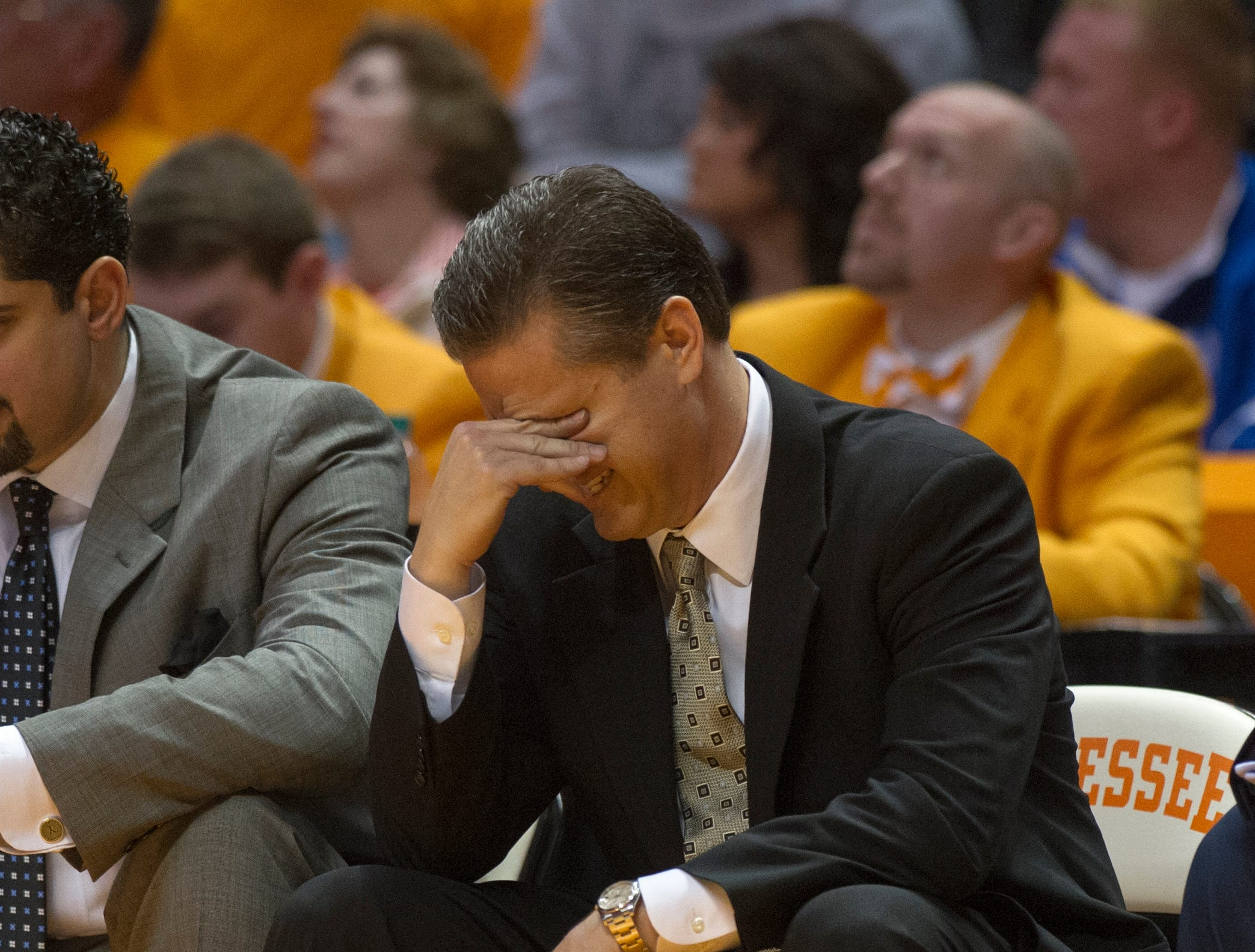Kentucky head coach John Calipari reacts during the second half against Tennessee at Thompson-Boling Arena Saturday, Feb. 16, 2013. Tennessee won 88-58 over Kentucky.
