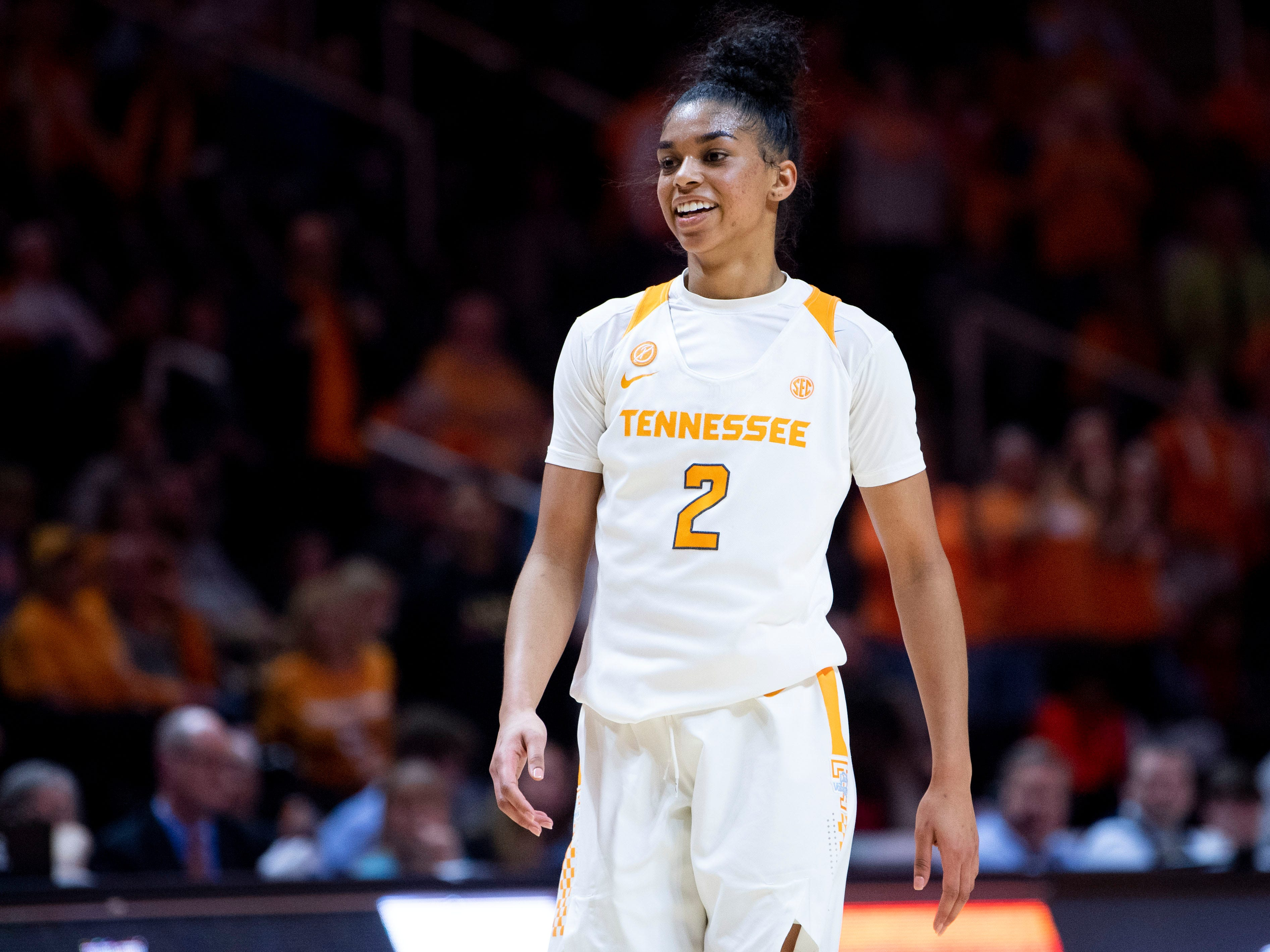 Tennessee's Evina Westbrook (2) smiles as the clock counts down for 73-62 win over Auburn on Thursday, February 14, 2019.