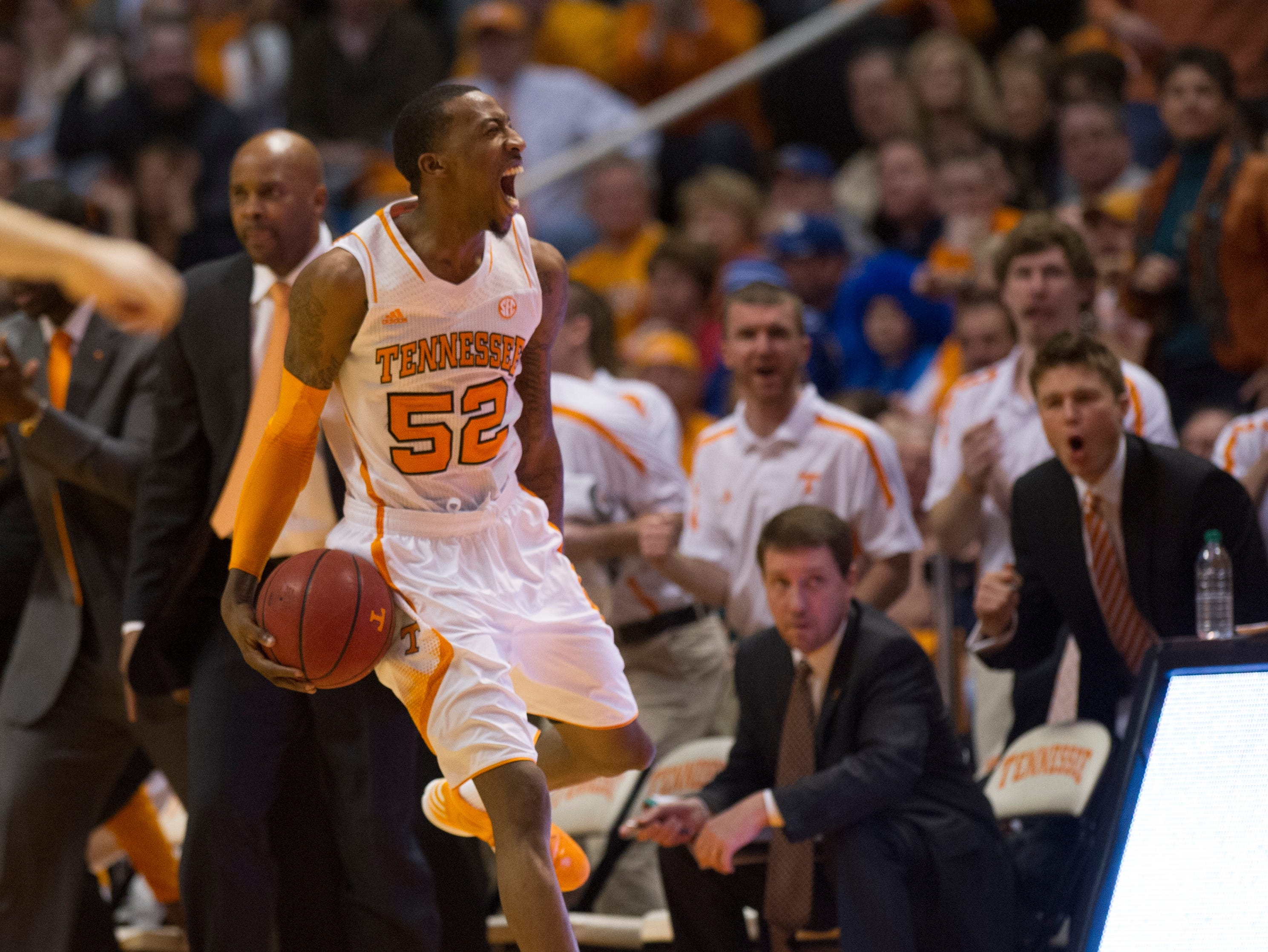 Tennessee guard Jordan McRae (52) reacts after a foul during the first half against Kentucky at Thompson-Boling Arena Saturday, Feb. 16, 2013.