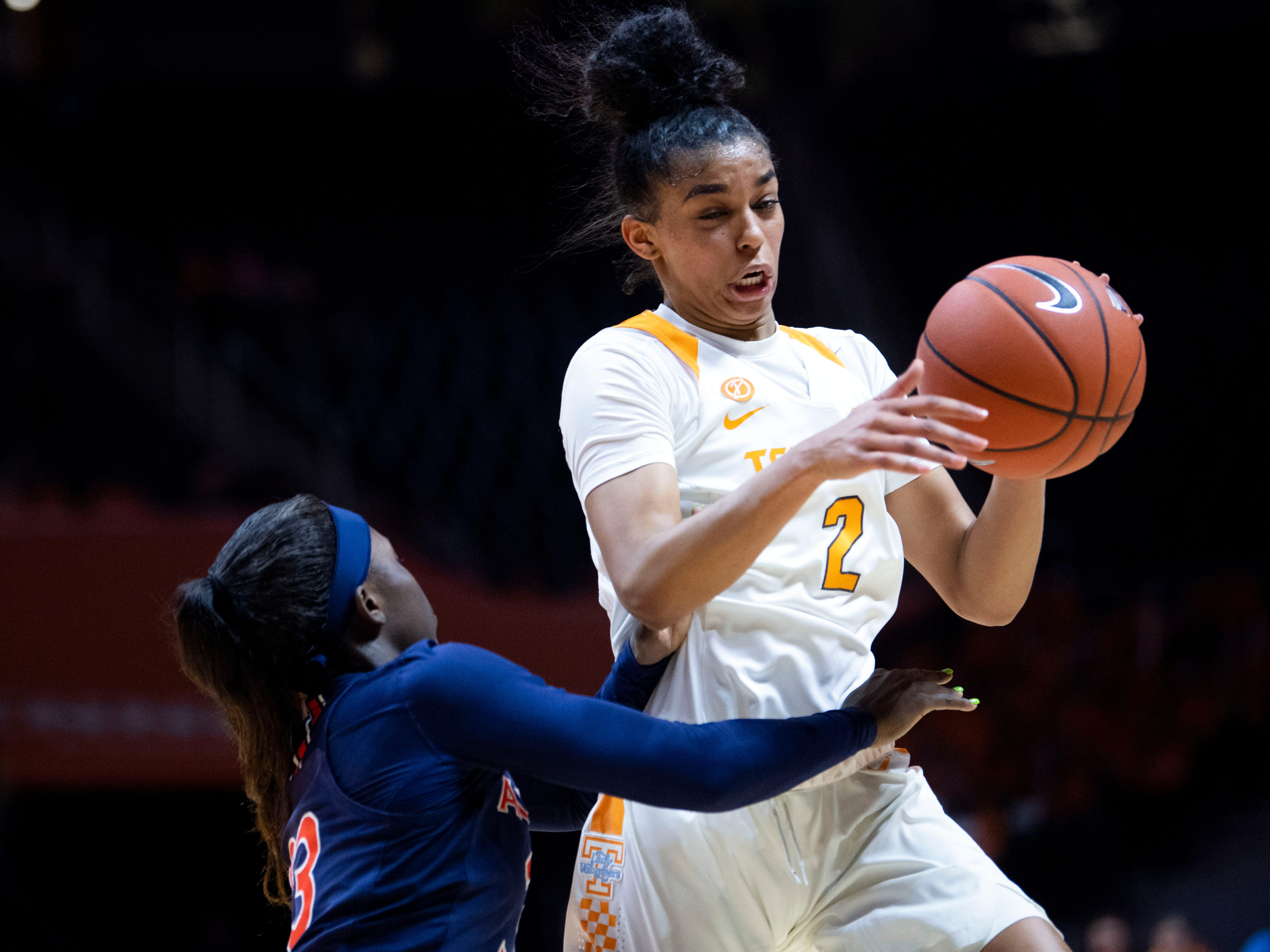 Tennessee's Evina Westbrook (2) is fouled by Auburn's Janiah McKay (33) on Thursday, February 14, 2019.