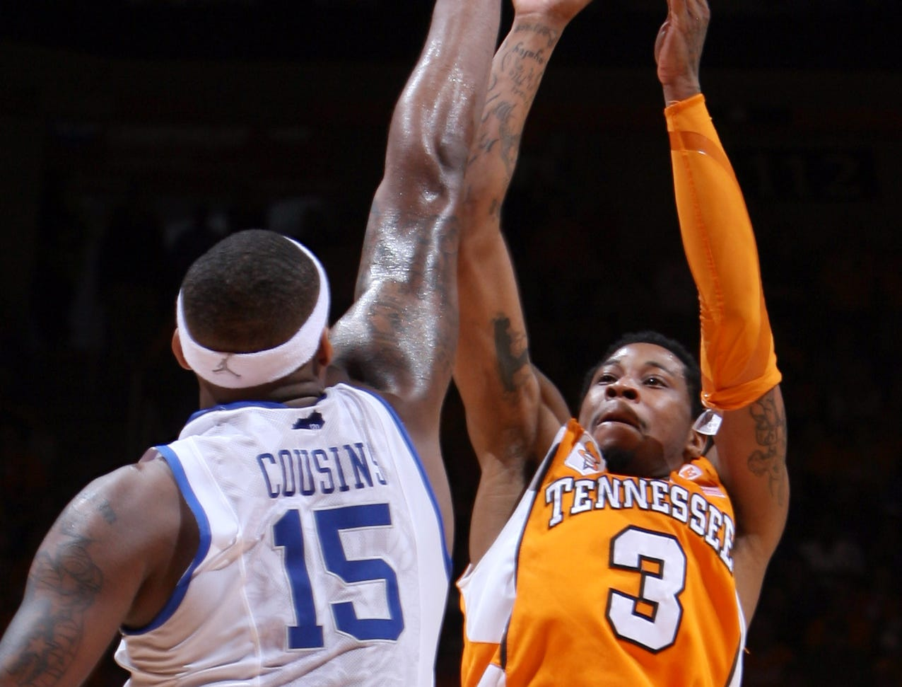 Tennessee guard Bobby Maze shoots over Kentucky forward DeMarcus Cousins at Thompson-Boling Arena Saturday, Feb. 27, 2010.  Maze scored 9 points for the Vols during the game.