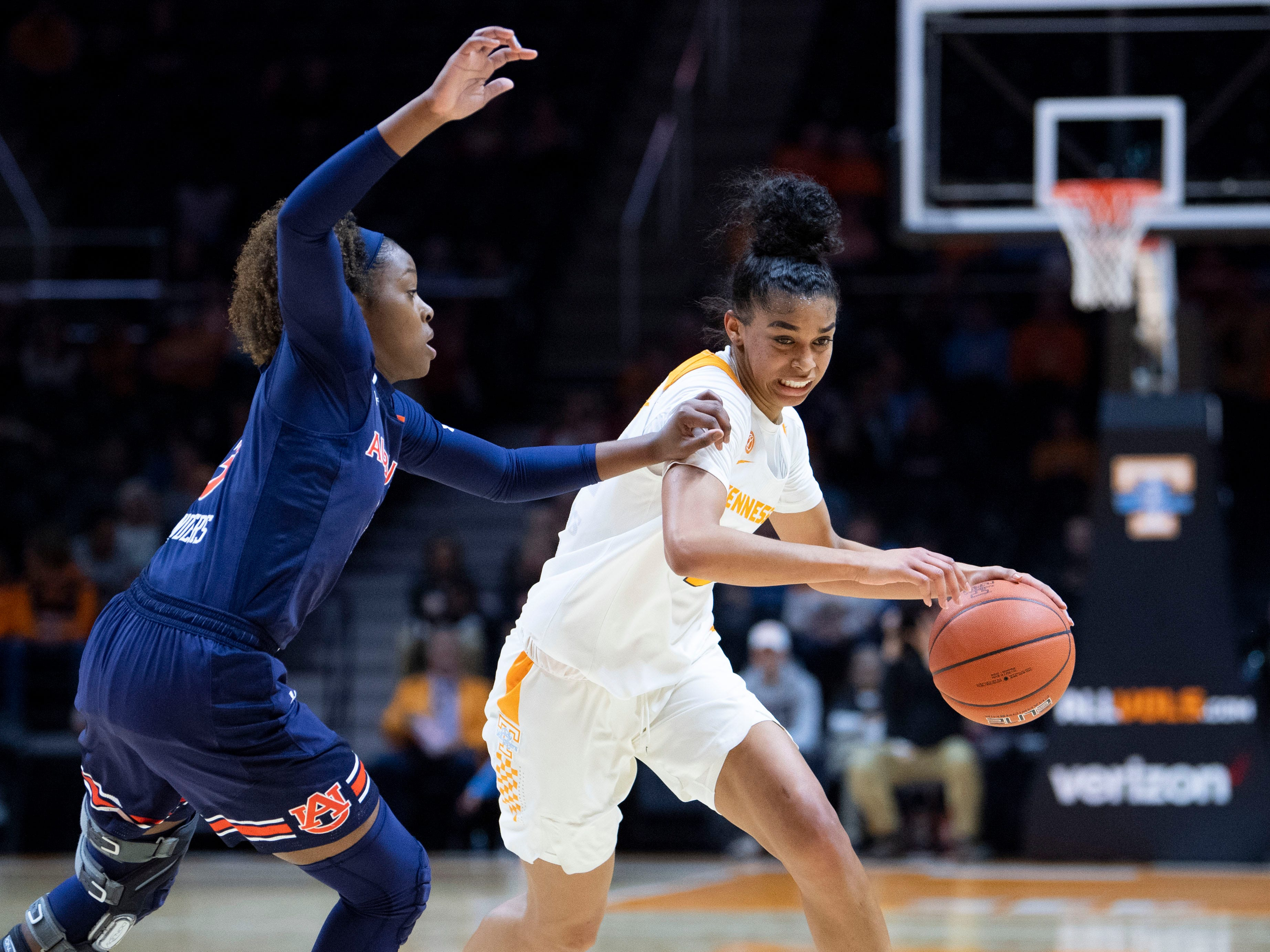 Tennessee's Evina Westbrook (2) drives towards the basket while guarded by Auburn's Erica Sanders (3) on Thursday, February 14, 2019.