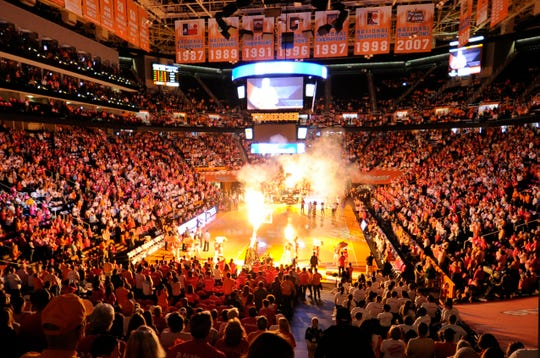 Thompson-Boling Arena erupts in pyrotechnics prior to the start of the Tennessee vs. Kentucky women's basketball game in Knoxville on Sunday, Feb. 16, 2014.