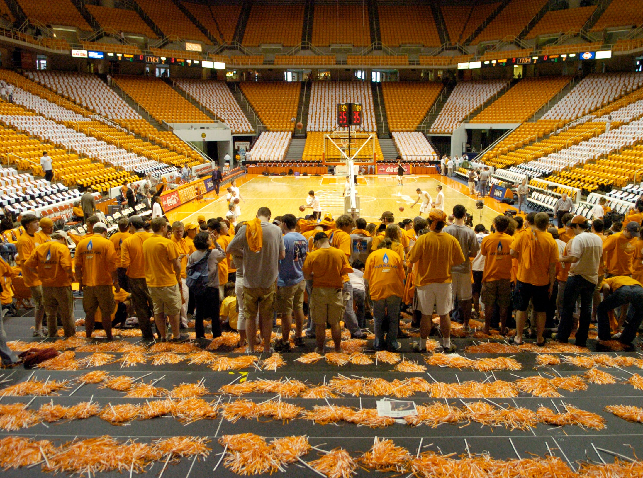 University of Tennessee student fans arrive two hours before the Kentucky game after waiting for hours. 2006