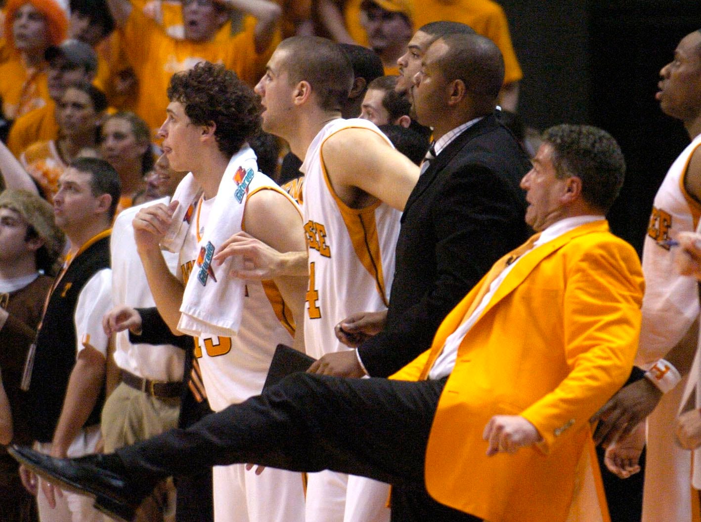 Tennessee head coach Bruce Pearl reacts as he watches the final shot of the game by senior C.J. Watson in February 2006. Watson missed which gave Kentucky a 80-78 win.