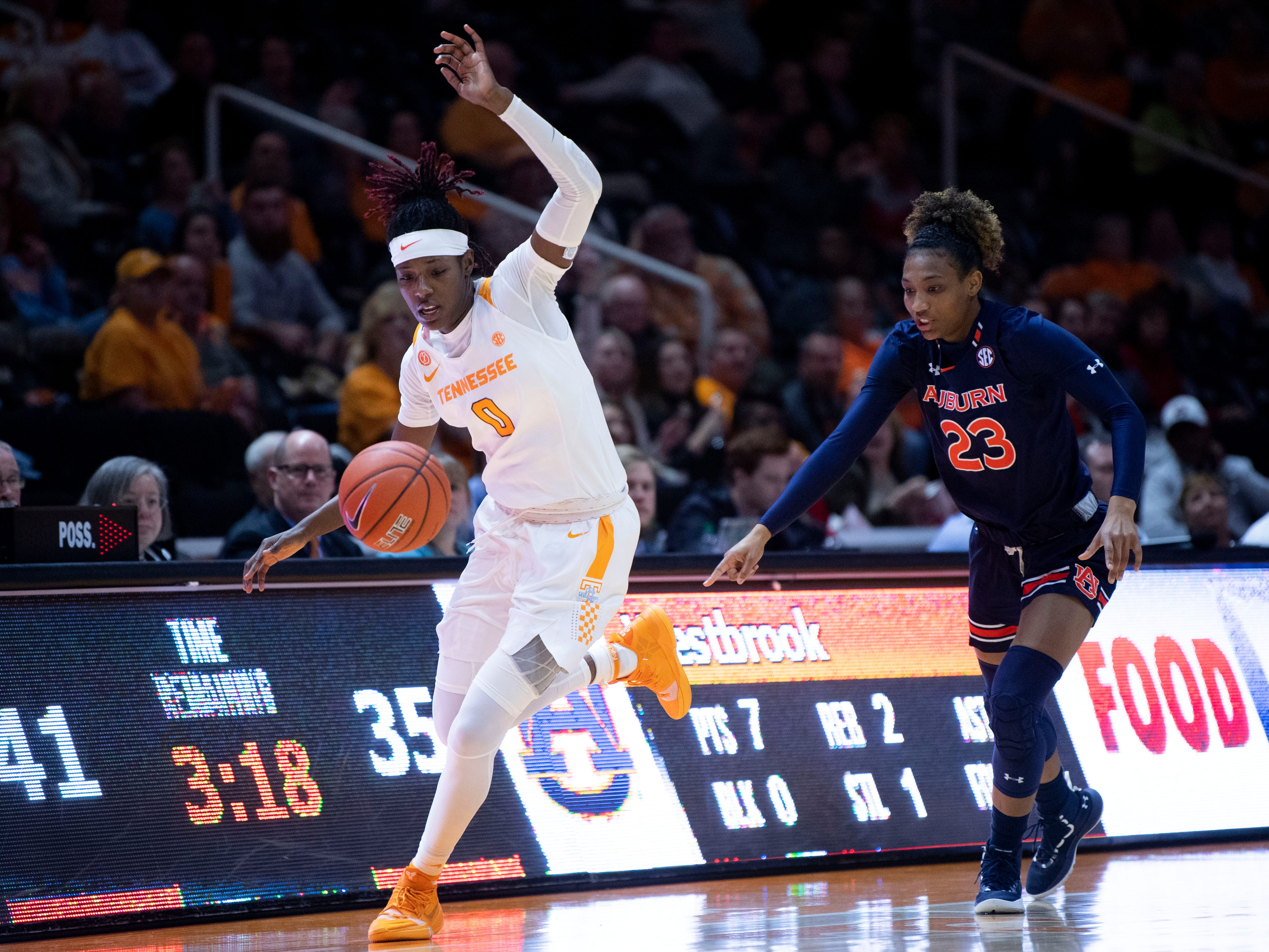 Tennessee's Rennia Davis (0) chases the ball after stealing it from Auburn's Crystal Primm (23) on Thursday, February 14, 2019.