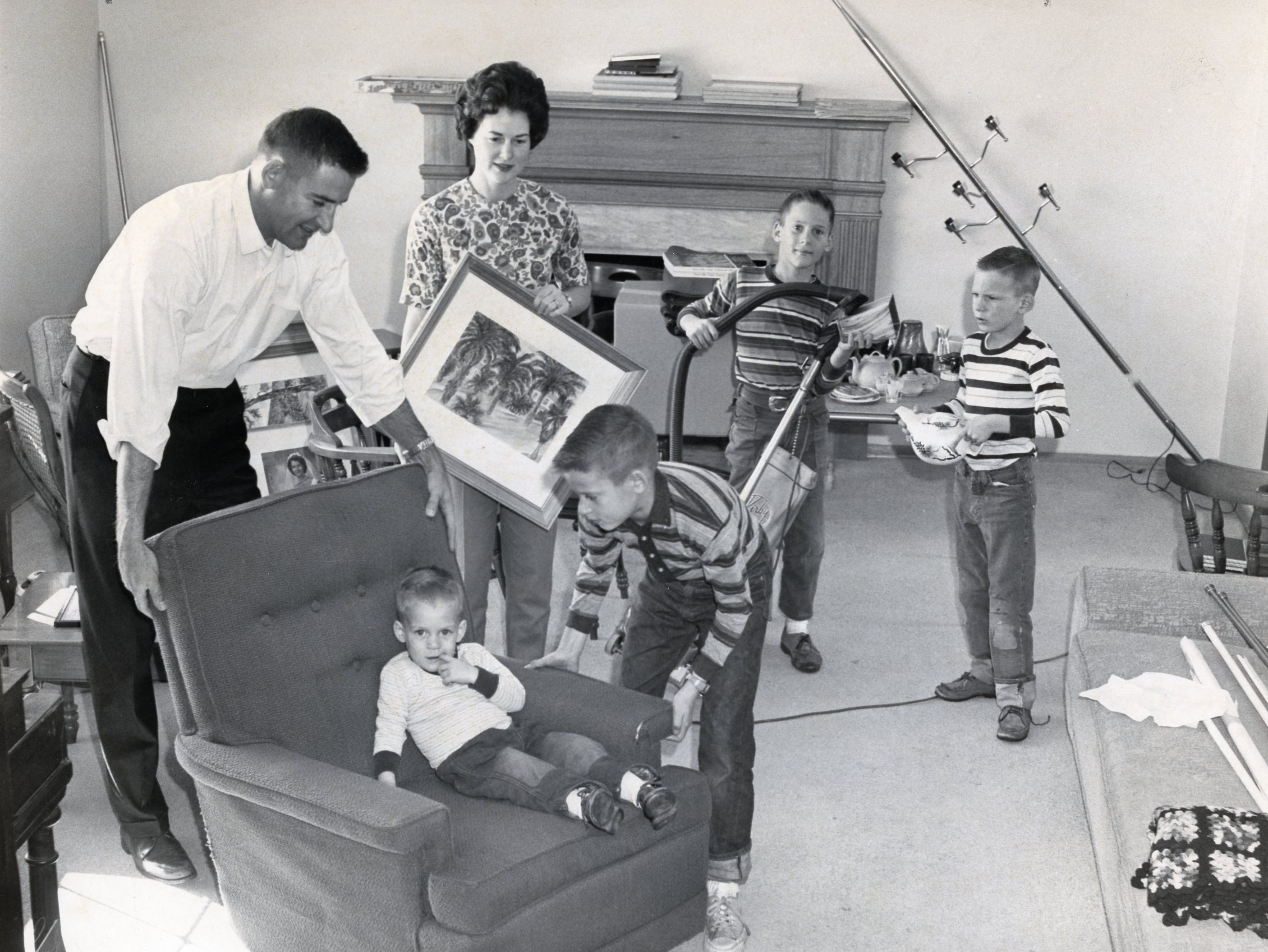 Moving Day, January 5, 1964 for the Dickey family. Pictured are Doug and JoAnne Dickey, Daryl, David, Danny and Don.