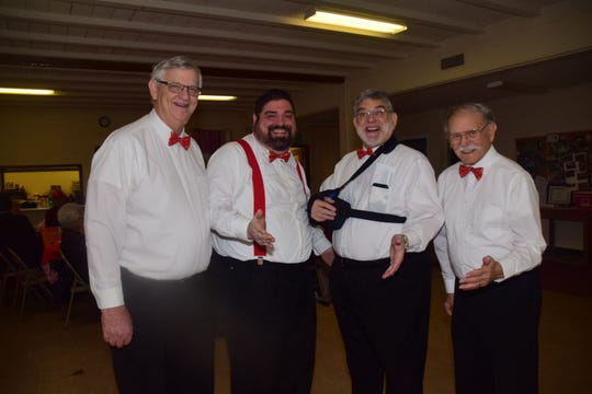 "John Shelton, James Duffy, Wayne Missaggia, and Ron DuBois, Three Nice Guys Quartet, sang quartet standards at a Valentine's potluck held at Beaver Ridge United Methodist Church Tuesday, Feb. 12. ""We have three nice guys and one not so nice guy, today James is the not so nice guy since he's the last to get here,"" said Shelton with a giggle."