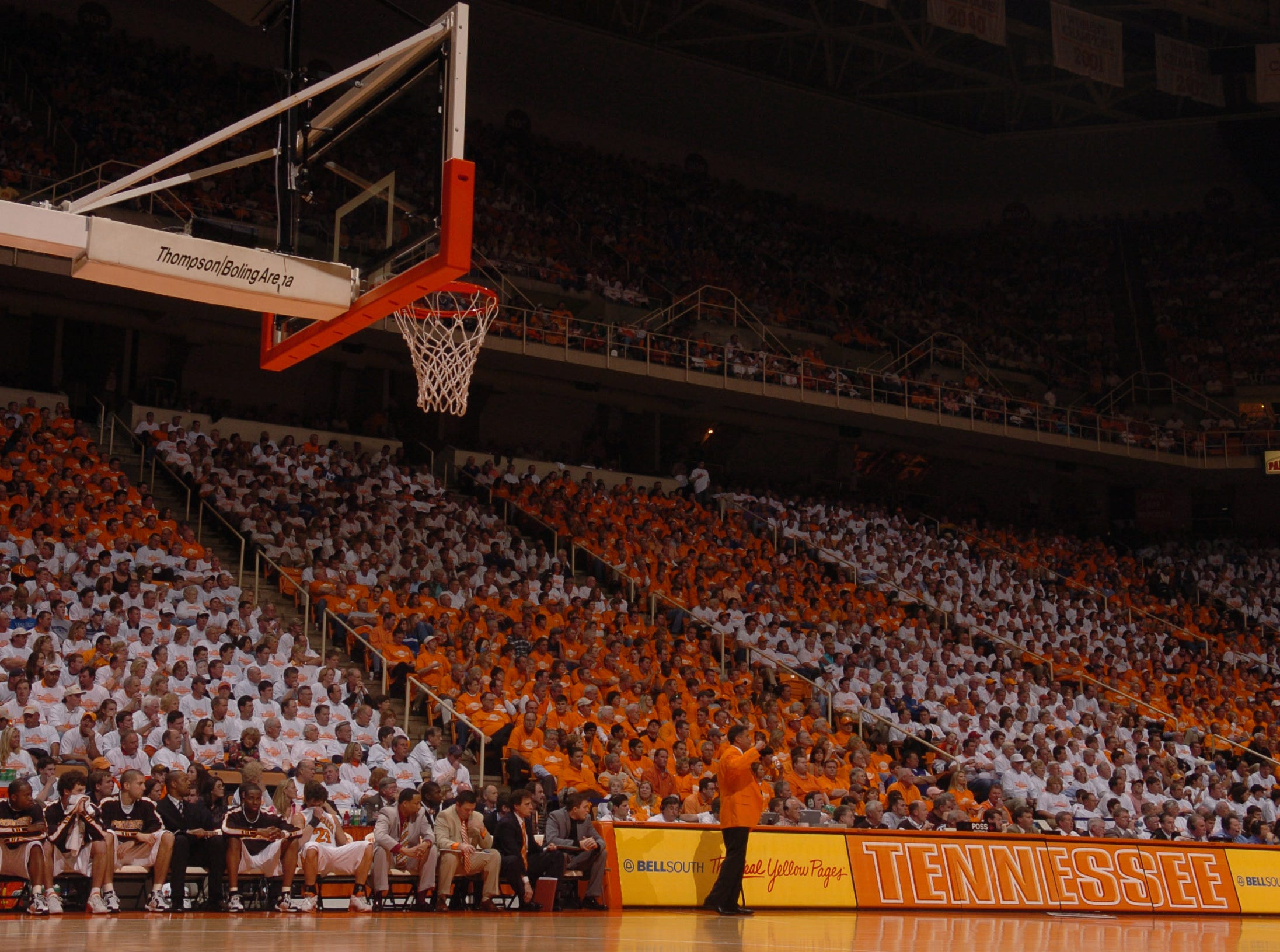 UT Fans form an orange and white pattern in the stands as Bruce Pearl coaches his team against Kentucky at Thompson Boling Arena in March 2006.