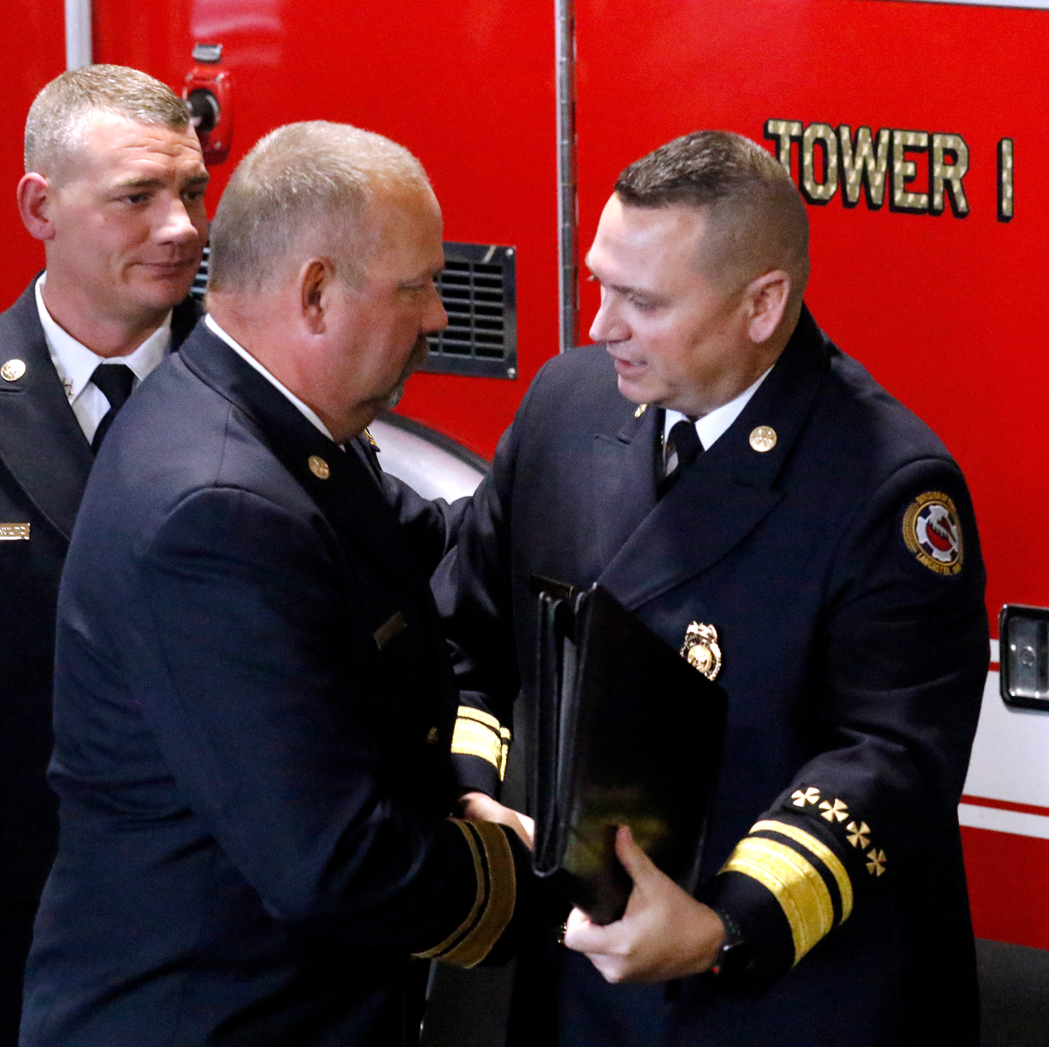Fire department promotes K.J. Watts to assistant chief as Jack Mattlin retires