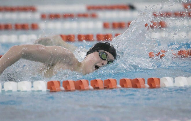 Howell junior Hunter Gubeno won two events in the state swimming and diving meet Saturday in Holland.
