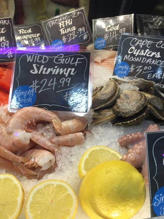 Simply Fresh Market offers wild, line-caught fish and other seafood at the market's new butcher counter, shown Friday, Feb. 15, 2019.