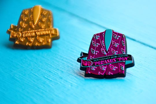 The 2019 Kentucky Derby Festival pin design is inspired by the Festival's official uniform jacket.