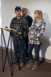 Terry Zwicker, left, father of Trey Zwicker, andand wife Terri Zwicker take questions from the media in regard to the developments surrounding the murder of Trey. Feb. 15, 2019