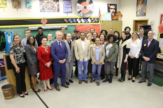 (From left to right): Christen Boone (President & CEO, Fund for the Arts), Shalonda Foster (Principal, Western Middle School for the Arts), Barbara Sexton Smith (Metro Council Representative-D4) and Louisville Mayor Greg Fischer join grantees during the announcement of the 2019 Imagine Greater Louisville Grants at Western Middle School for the Arts.