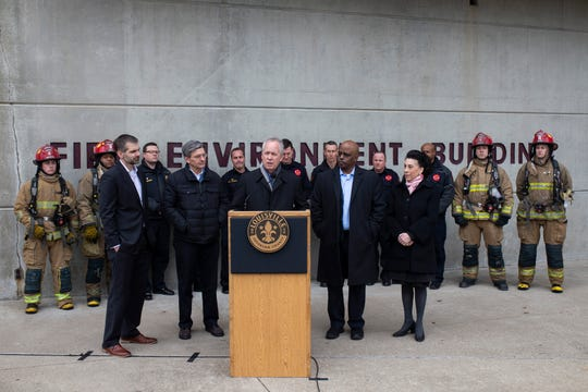 Louisville mayor Greg Fischer speaks Friday about his recent proposal to raise insurance premium taxes. He and Metro Council members made an appearance at the Louisville Fire Training Academy on West Hill Street to talk about the plan as a way to avoid public safety budget cuts.