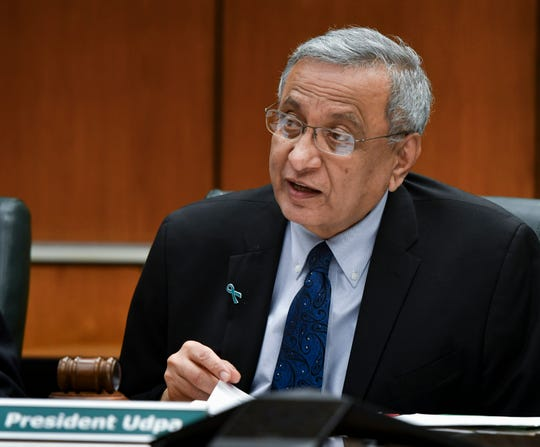 MSU interim President Satish Udpa makes a formal apology to victims of former MSU and USA gymnastics doctor Larry Nassar, Friday, Feb. 15, 2019, at the Board of Trustees meeting in the Hannah Administration building.  His apology was followed with applause.