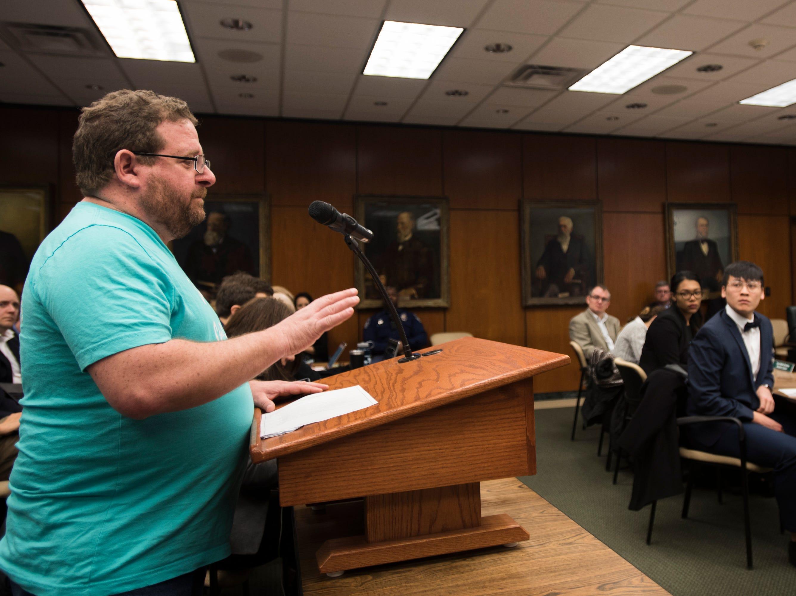 Brian Tarrant, a parent of a Nassar victim addresses the MSU Board of Trustees, Friday, Feb. 15, 2019.