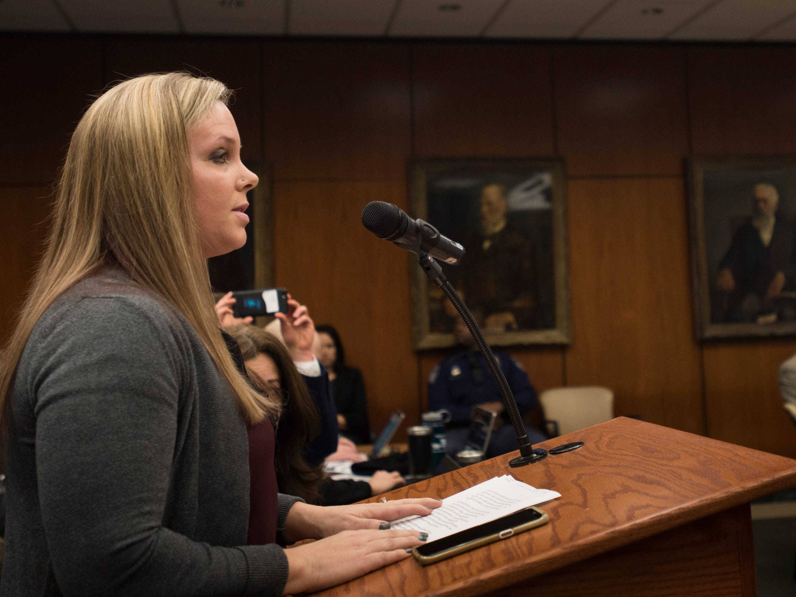 """Former MSU alumna Nicole and Nassar survivor Nicole Casady addresses the MSU Board of Trustees Friday, Feb. 15, 2019.  """"This board has the singular ability to restore our trust  in humanity and this institution. Together, we can rewrite the headlines. Tomorrow, can they read 'MSU trustees deliver on the promises they made to all survivors?'"""""""