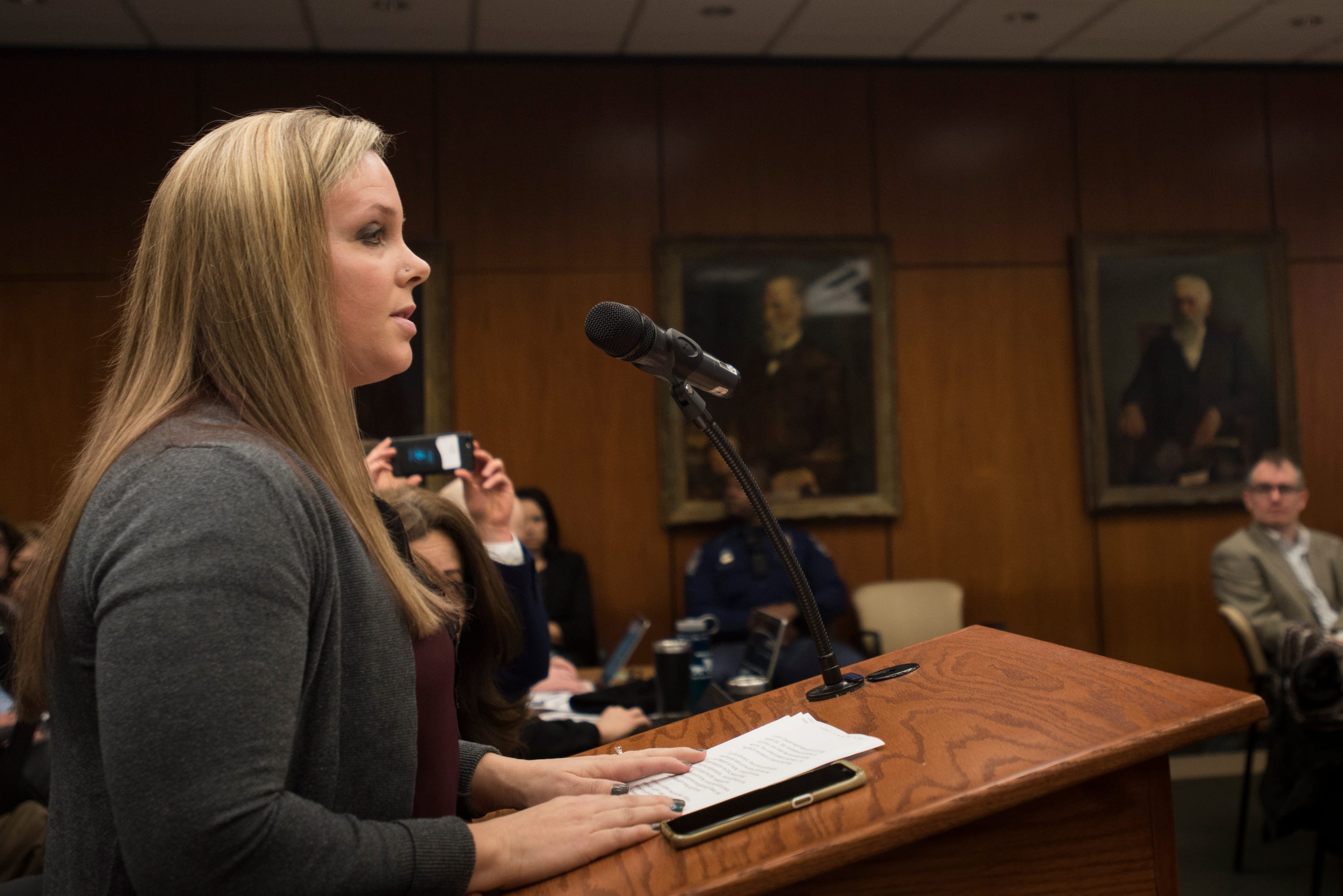 Former MSU alumna and Nassar survivor Nicole Casady addresses the MSU Board of Trustees Friday, Feb. 15, 2019. Casady is among 110 women suing MSU in a second-wave of Nassar-related lawsuits.