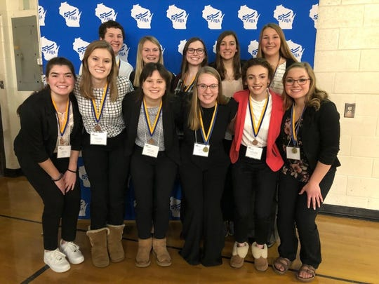 Two Rivers Future Business Leaders of America members are headed to state. Front row, from left: Kylie Heier, Madelyn Polich, Alissa Taylor, Abby Fries, Caroline Manna and Saleena Gulseth. Second row, from left: Matthew Taylor, McKenna Meyer, Aubrey Polich, Ariana Zimney and Claire Myers.