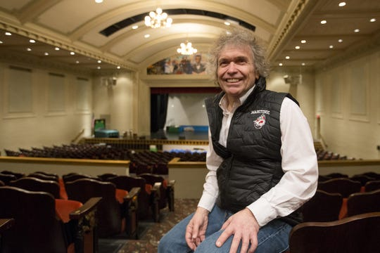 Biff Hansen sits for a portrait in the Manitowoc Lincoln High School auditorium Feb. 6, 2019, in Manitowoc.