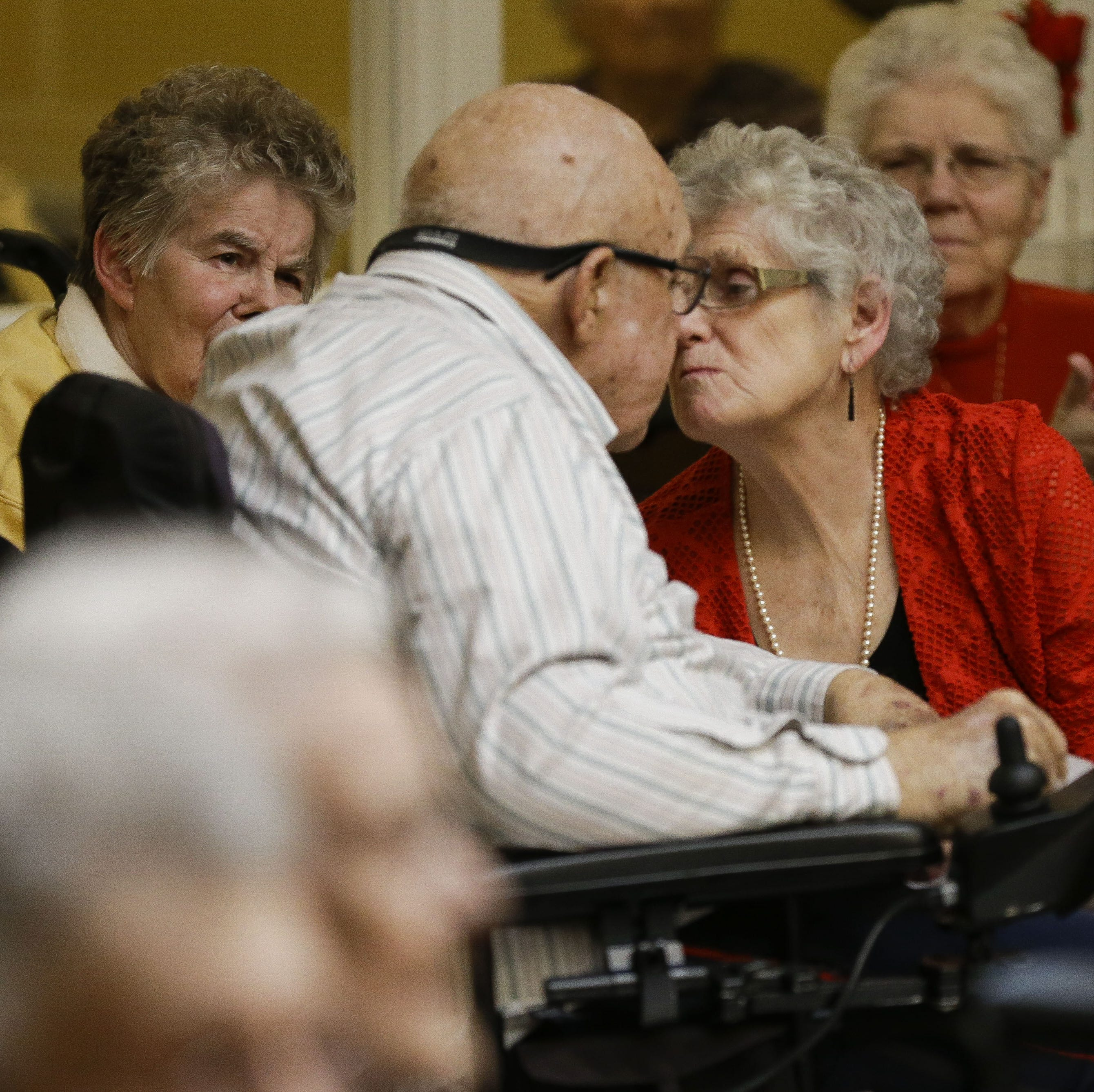These six couples renewed their vows on Valentine's Day at a Marshfield assisted-living home