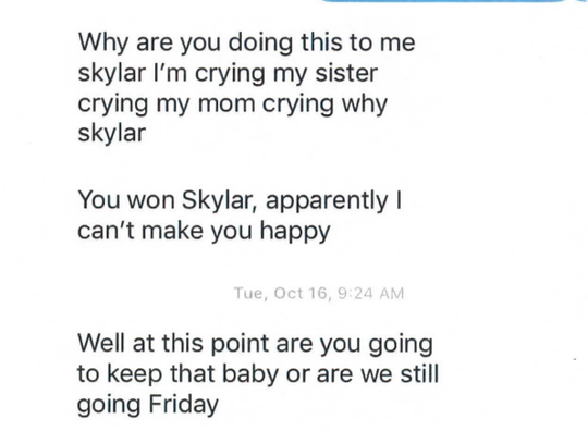 These text messages between Ty'Rell Pounds and Skylar Williams were included in a 700-page investigative report delivered to the Richland County Prosecutor's Office.