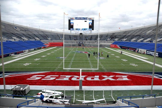 February 14, 2018 - AAF's Memphis Express hosted Fan Experience Preview of the Liberty Bowl Memorial Stadium as the team readies the stadium with signage and select seating for Saturday's game.