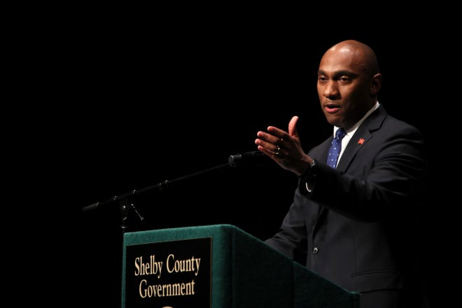 Shelby County Mayor Lee Harris speaks during his State of the County address at the Halloran Centre on Friday.