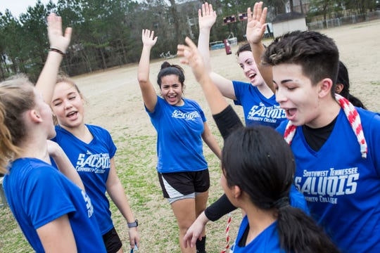 Thaina' Aparecida de Paula, center, and Juliane Guimaraes Alcantara, right, wrap up a Southwest Tennessee Community College soccer practice Feb. 5, 2019, at St. George's Independent School in Collierville.