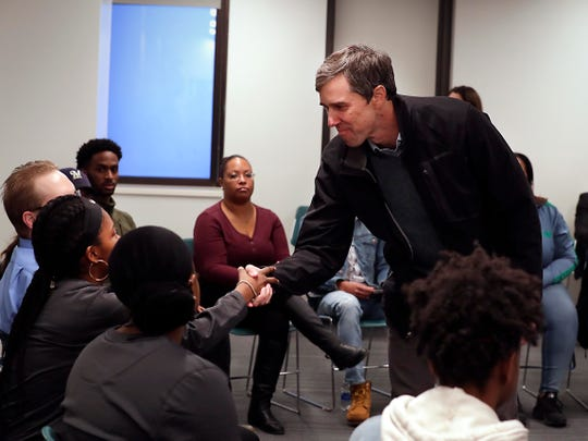 Former U.S. Rep. Beto O'Rourke of Texas  greets students individually at MATC's downtown campus, Friday, Feb. 15, 2019.