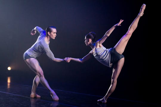 "Josiah Cook and Kristen Marshall dance in Milwaukee Ballet's ""Beyond the Break,"" choreographed by Kenneth Tindall."