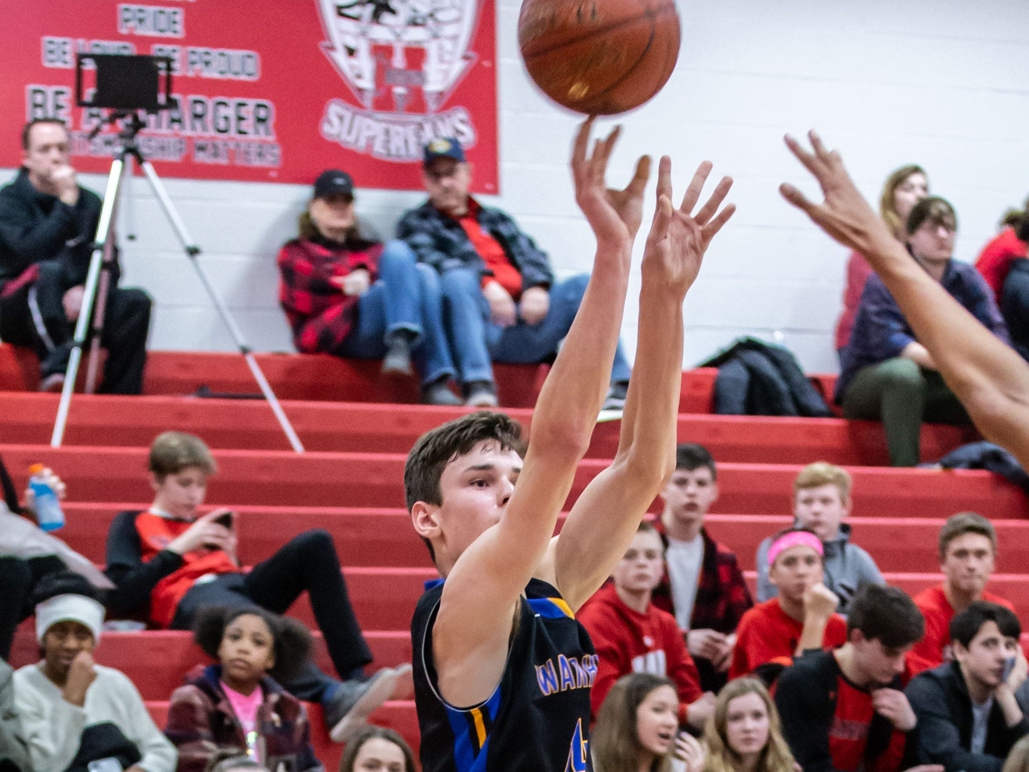 Germantown's Michael Doran (14) elevates for a shot during the game at Hamilton on Thursday, Feb. 14, 2019.