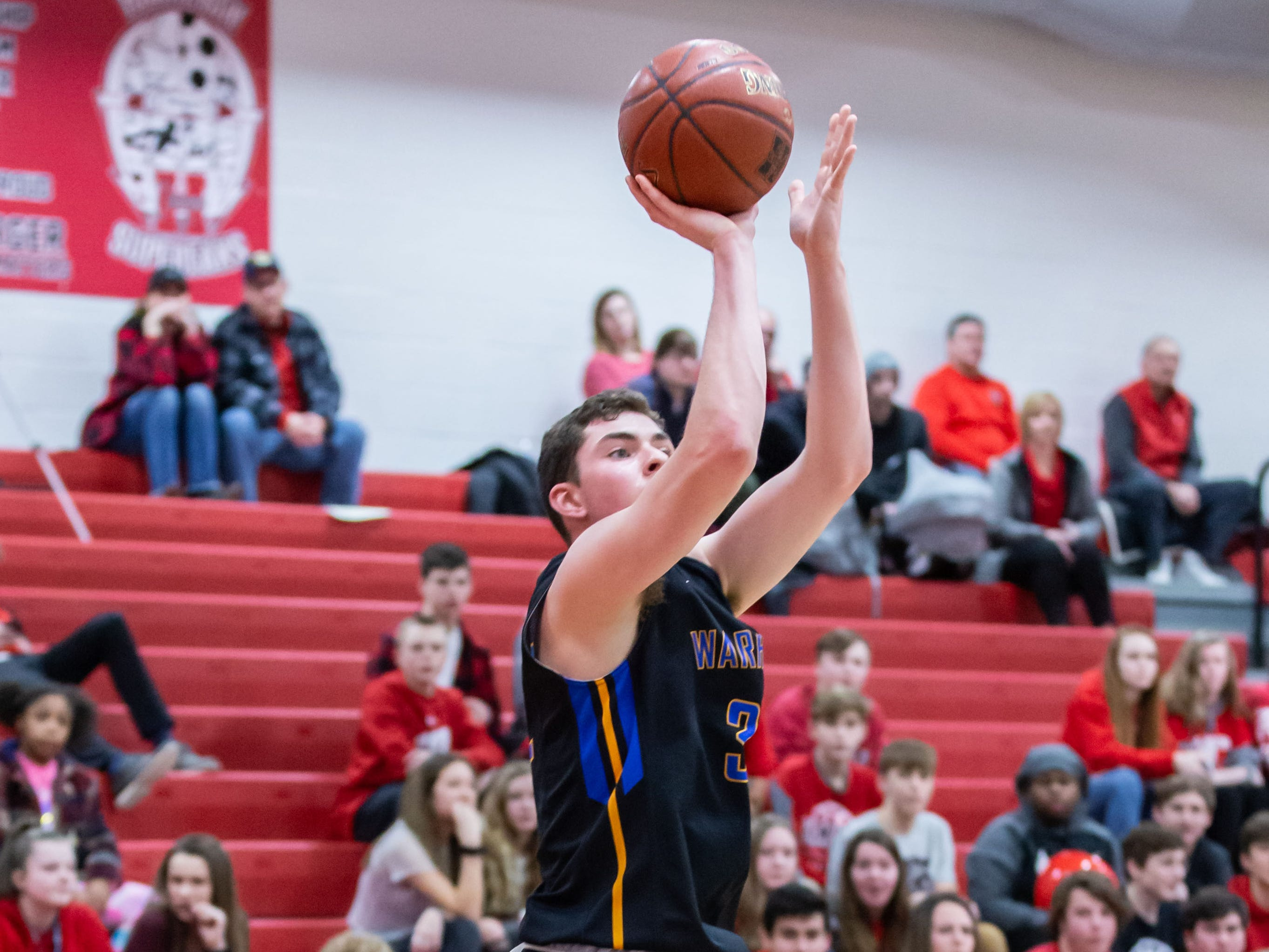 Germantown's Luke Taylor (32) elevates for a shot during the game at Hamilton on Thursday, Feb. 14, 2019.