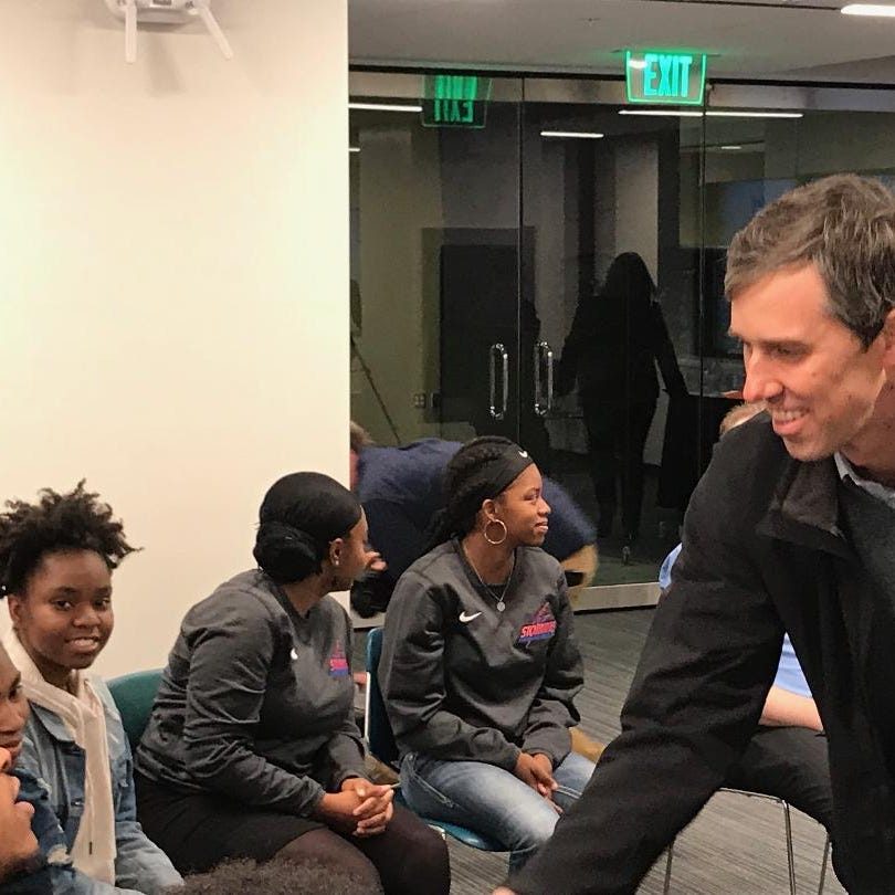 Texas Democrat Beto O'Rourke meets Friday with students at Milwaukee Area Technical College.