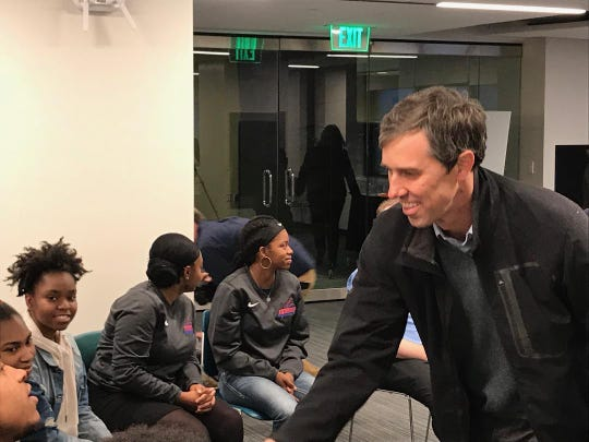 Texas Democrat Beto O'Rourke meets with students at Milwaukee Area Technical College during an earlier visit to Milwaukee.