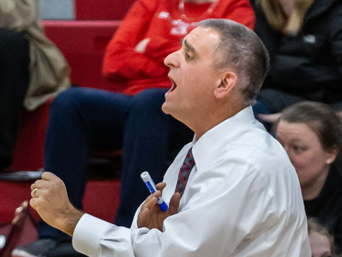 Hamilton head coach Andy Cerroni calls a play during the game at home against Germantown on Thursday, Feb. 14, 2019.