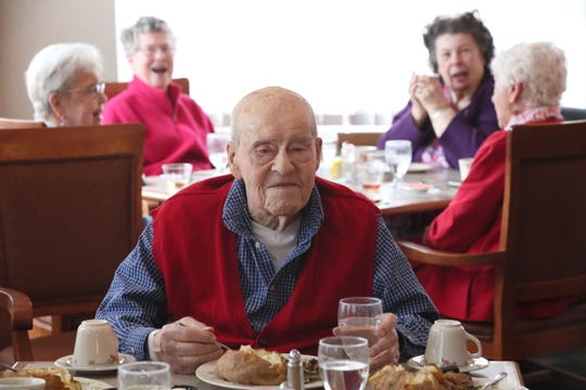 Ron Schwartz enjoys the Valentine's Day luncheon for which he was the guest of honor.